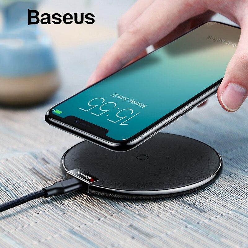 Cargador inalámbrico Baseus Qi para iPhone X XS Max XR 10 W cargador rápido cargador inalámbrico para Samsung S9 Note 10 cargador inalámbrico