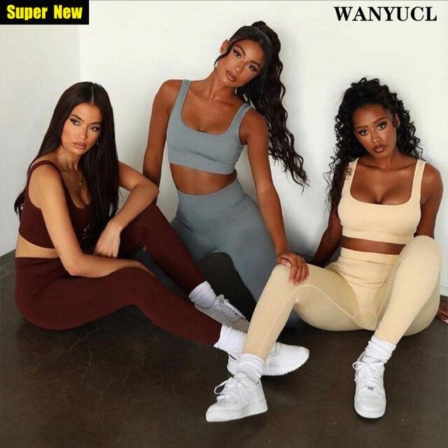 Wanyucl 2021 novo conjunto de ginásio sem emenda mulheres fitness yoga conjunto ternos esportivos cintura alta leggings + push up bra 2 peice conjunto roupas esportivas 1