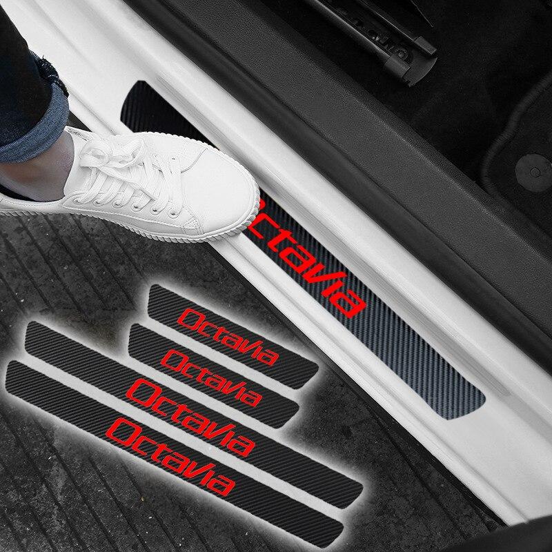 4PCS กันน้ำประตู Sill คาร์บอนไฟเบอร์ป้องกันประตูสติกเกอร์สำหรับ Skoda Octavia 5 7 2 อุปกรณ์เสริมรถยนต์