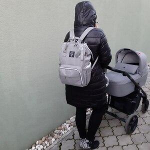 Image 5 - Lequeen Usb Mummie Moederschap Luiertas Merk Grote Capaciteit Baby Tas Rugzak Designer Verpleging Zak Voor Babyverzorging