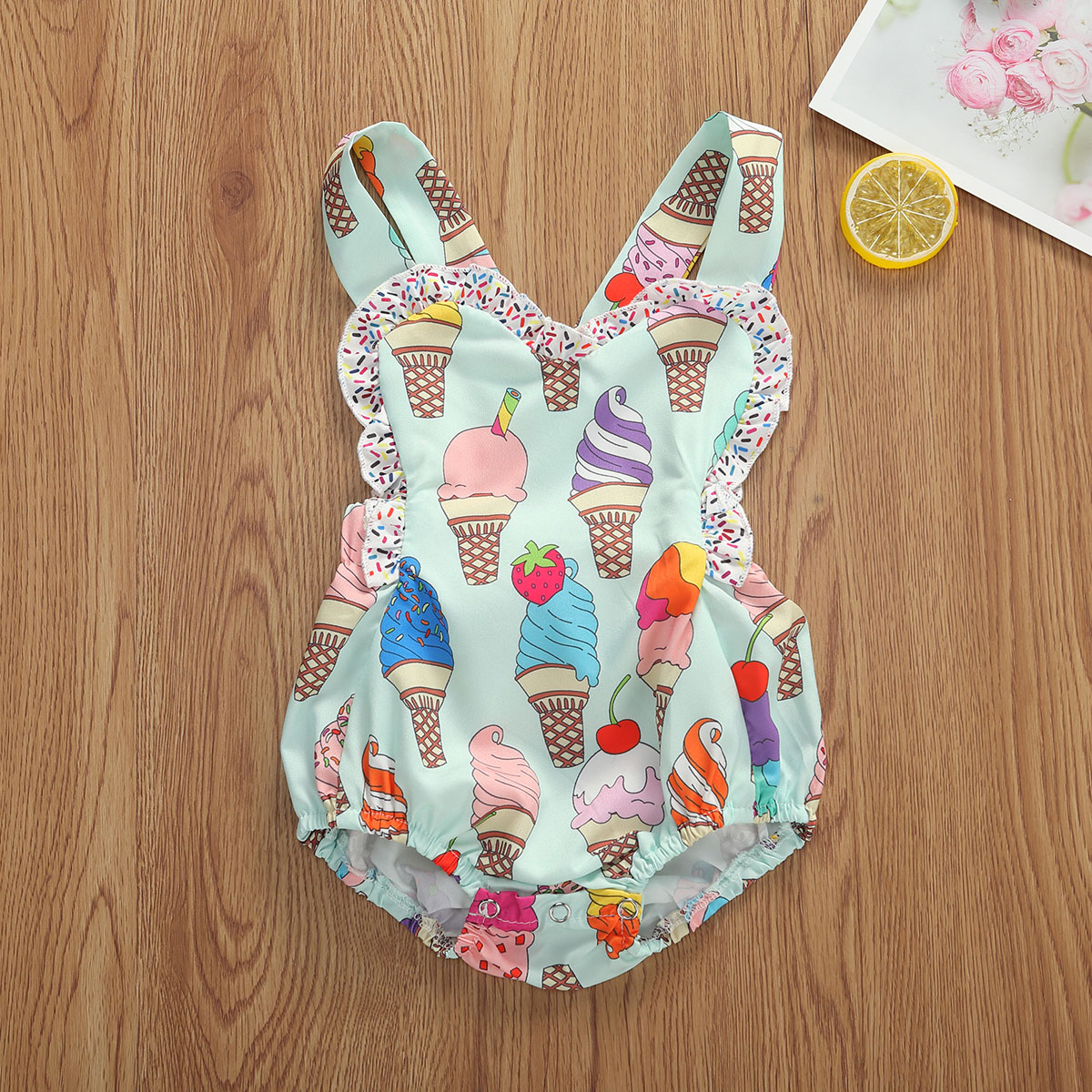 Summer Cute Toddler Baby Girls Boys 0-18M Rompers Ice Cream Print Ruffles Sleeveless Backless Jumpsuits