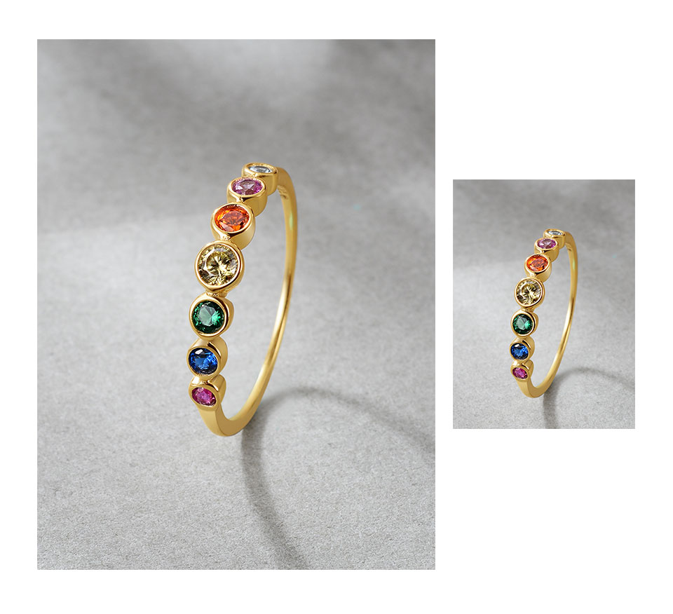 H0849456eac53495aa3ab2e97dfba6129k E 925 Sterling Silver Rainbow Gemstones Ring for Women 14K Gold Plated Silver Jewelry Rings Color Cubic Zirconia Wedding Rings