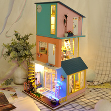 Toy House Miniature Wooden Bedroom Diy for Adult Combination Villa Kitchen Living-Room