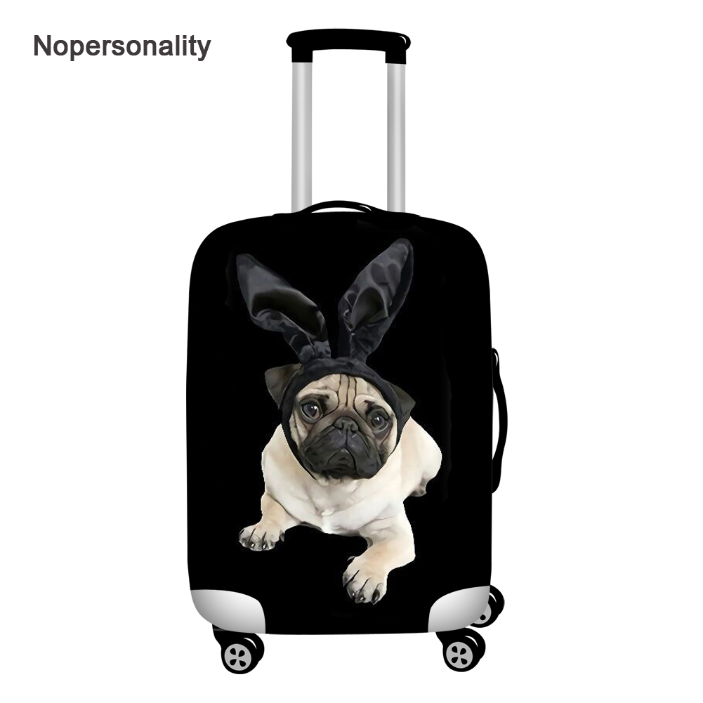 Nopersonality 18-32inch Puppy Pug Print Luggage Protector Covers Black Elastic Suitcase Cover Waterproof Dustproof Baggage Cover
