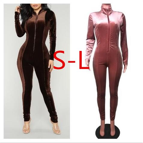 Fashionable Style Chocolate Dream Velvet Jumpsuit New Fashion Mock Neck Front Zipper Skinny Leg Kylie Jenner Velour Jumpsuits