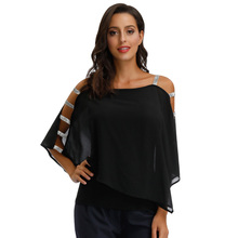 цены на Party Shirt Sexy Women Solid Color Summer Cold Shoulders Cut-out Batwing Sleeves Double Layer Blouse Elegant Ladies Chiffon Tops  в интернет-магазинах