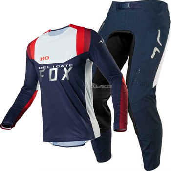 2020 DELICATE FOX Navy White Jersey Pant Gear Combo for ATV DH MX Off-Road Dirt Bike Motocross Motorcycle