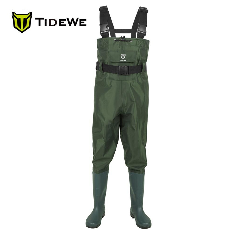 TideWe Green Bootfoot Chest Waders Waterproof 2-Ply Nylon/PVC Multi-purpose Fly Fishing Hunting Waders Pants for Men and Women