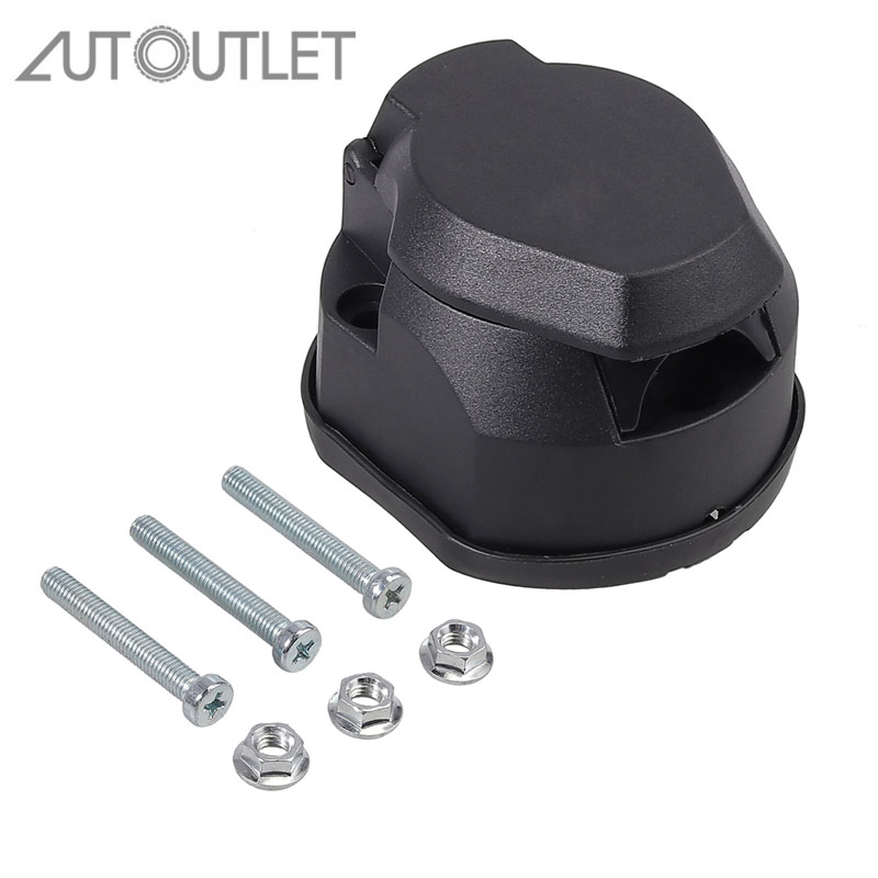 AUTOUTLET For 12/24V Trailer Socket 13-pin 12V+gasket Bolt Kit Trailer Hitch Car 13 Cores
