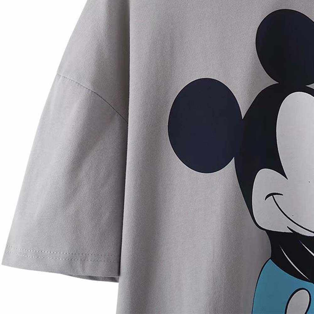 Disney Chic Fashion Minnie Mickey Mouse Cartoon Print Stellen Vrouwen Mannen T-shirt Zoete O-hals Trui Korte Mouwen Losse Tee Top