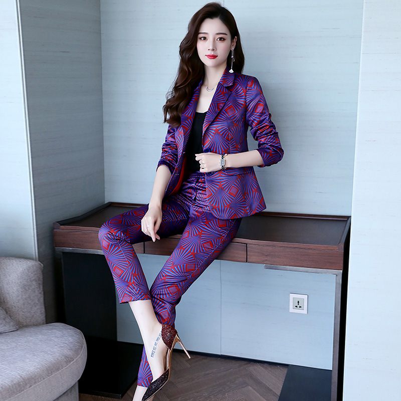 Famous Yuan Hong Kong style new women's wear professional suit printed small suit trousers show thin two-piece fashion