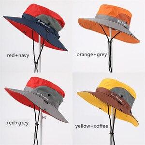 Sombrero impermeable UPF 50 + sombrero del sol hombres mujeres verano pesca Boonie sombrero amplia protección UV borde cubo Bob Cap con cuerda pescador sombrero