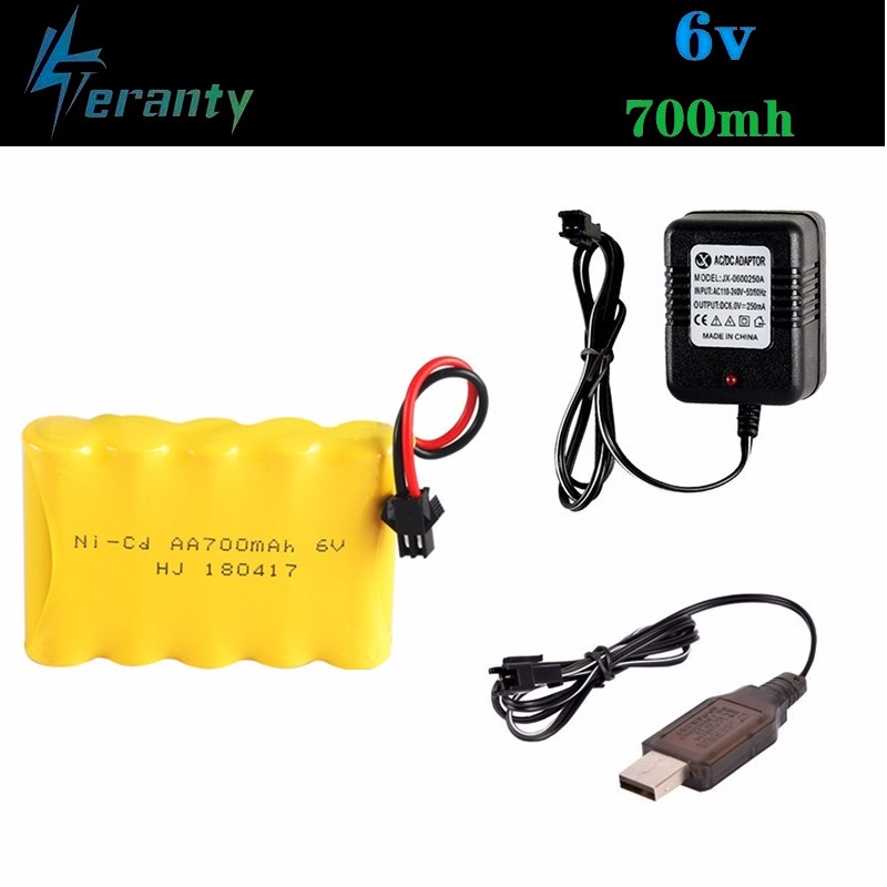 (SM Plug) <font><b>6v</b></font> 700mah Battery + <font><b>USB</b></font> <font><b>Charger</b></font> For Rc toys Cars Tanks Trains Robots Boats Guns Ni-CD AA <font><b>6v</b></font> Rechargeable Battery Pack image
