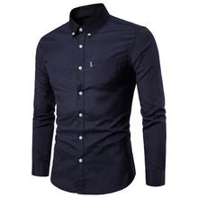 80%HOT Men Solid Color Turn Down Collar Long Sleeve Shirt Slim Button Pocket Work Top