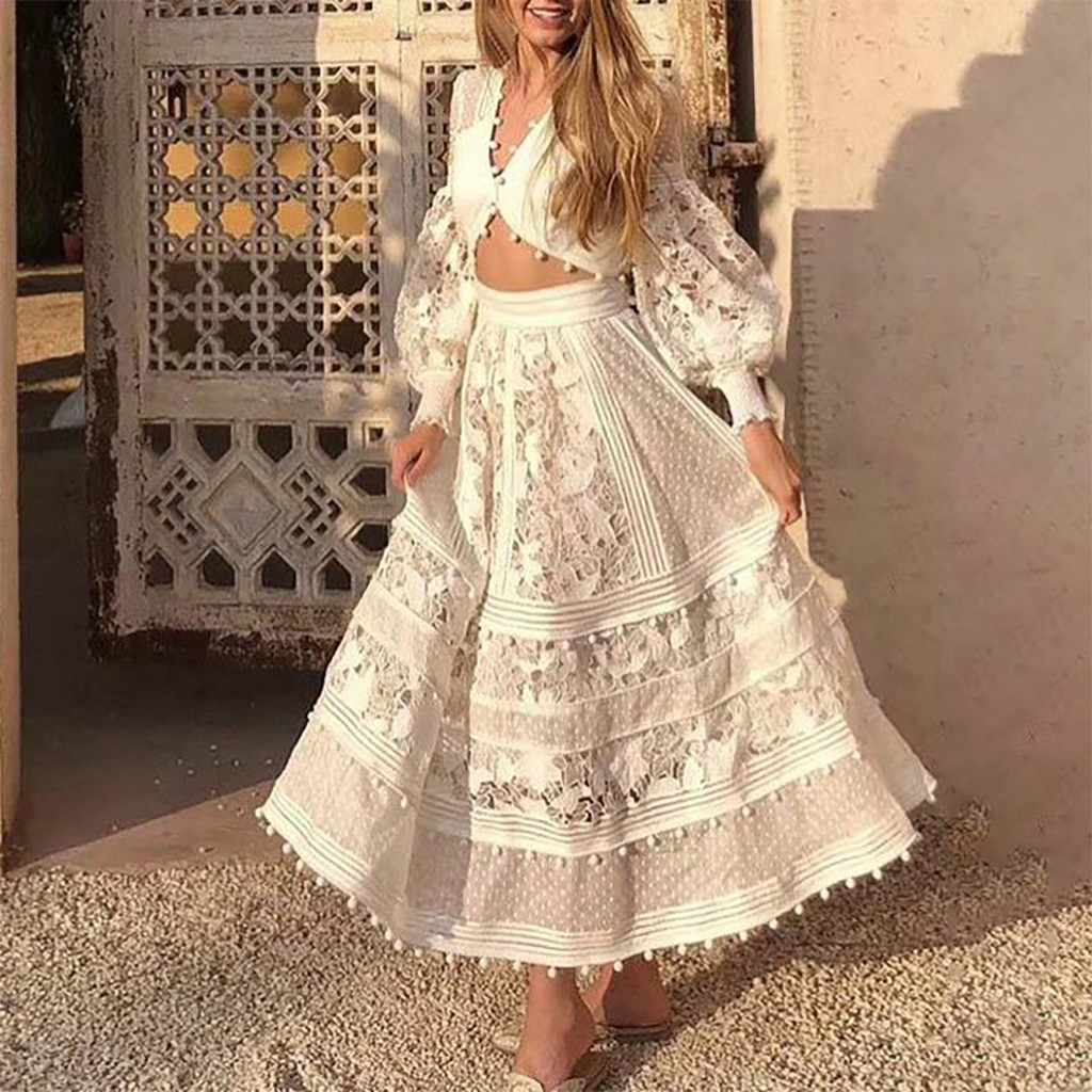 38# Skirts Womens Women's New Spring Summer Solid Waist Lace Hollow Loose Swing Skirt + Top Faldas Mujer Moda 2020 Faldas