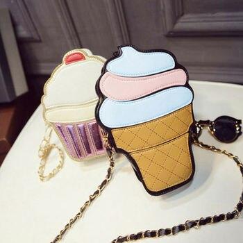 Cute Girls Ice Cream Cupcake Handbags Pu Leather Small Chain Clutch Girl Messenger Crossbody Shoulder Bags Female Bag Handbags