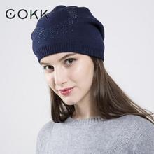 COKK Womens Hats Autumn Winter Beanie Soft Wool Bonnet Stretch For Women Ladies High Quality Chapeau Femme Brand Designer