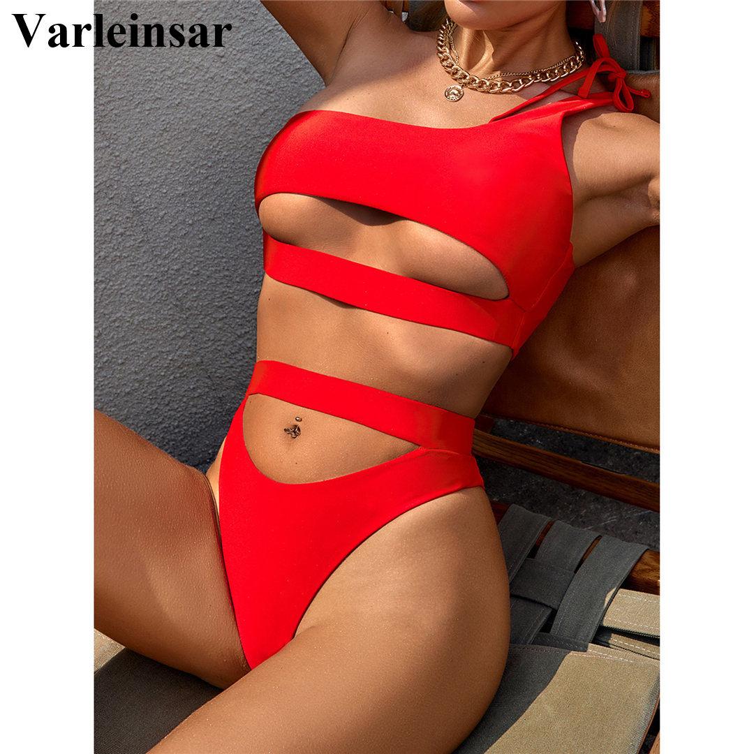 Seksi karın kesip kadın mayo yüksek bel Bikini kadınlar mayo iki parçalı Bikini seti Bather mayo yüzmek bayan v2549