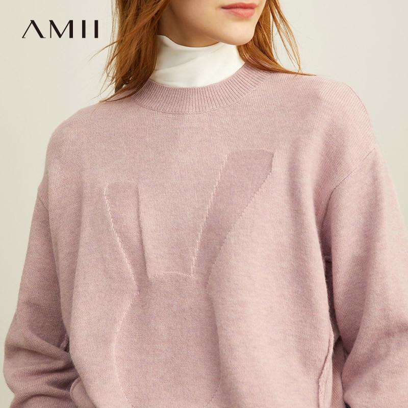 Amii Autumn Winter Women Fashion Print Sweater Female Elegant Solid O-neck Long Sleeve Pullover Short Tops 11920237