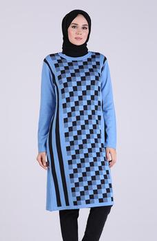 Minahill niebieska tunika 1102-08 tanie i dobre opinie Aplikacje Bluzki i koszule Octan Dla dorosłych