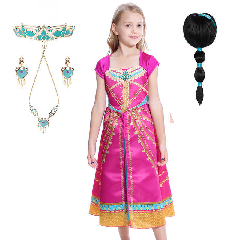 Aladdin Prinses Jasmine Dress Cosplay Kostuum Jamine Roze Jurk Kostuum Fancy Party Halloween Sexy Cosplay Kostuum Jamine Pruiken