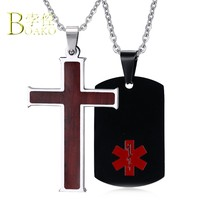 Stainless Steel Cross Pendant Necklace Men/Women Gold Silver Statement Chain Necklace Wooden Patterns Necklace Couple Collars B5(China)