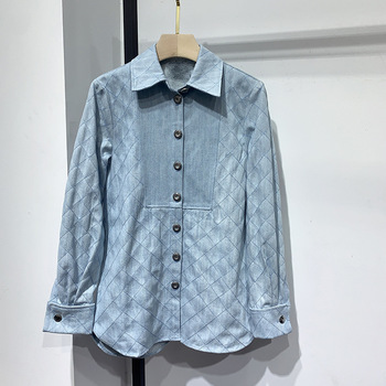 Denim Jeans Blouses Women or Men Runway High-end Long Sleeve Blue Solid Blouses and Tops 2020 Spring New Streetwear Chic Blouses фото