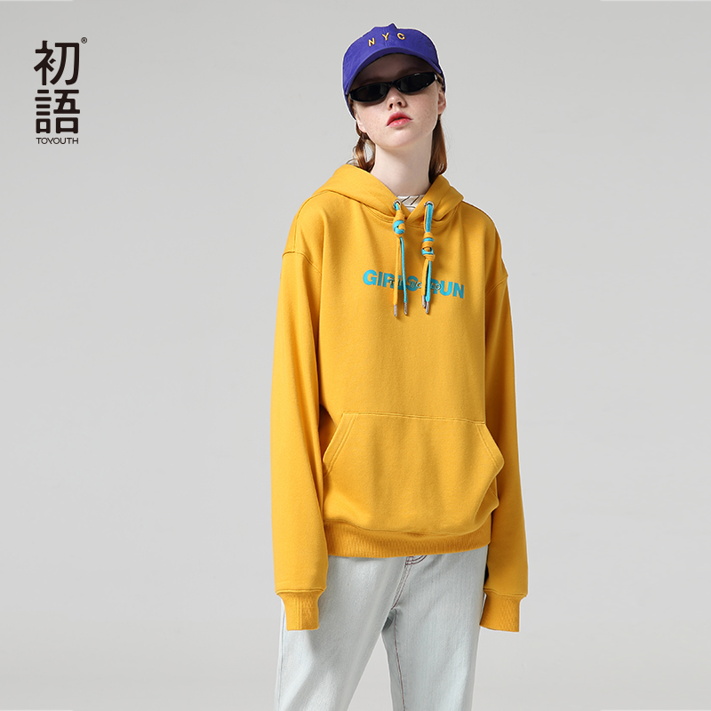 Toyouth Fashion Embroidery Hoodies Female  Autumn Long Sleeve Letter Printed Tracksuits Hooded Sweatshirts For Women Tops