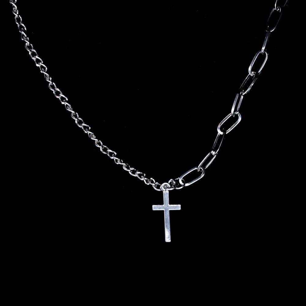 H084abddda055423b86c80520c5fe50f7T - Zoeber Multi-Layer Long Chain Necklace Punk Cross Pendant Necklace for Women Men Metal Silver Chains Hip Hop Goth Jewelry Gifts