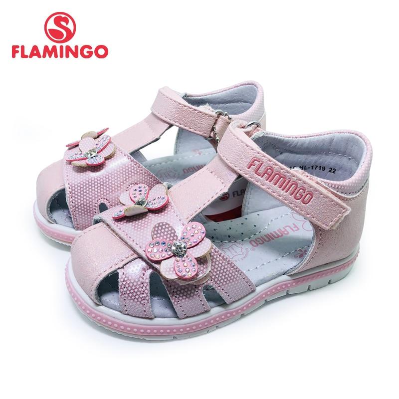 FLAMINGO 2020 Kids Sandals Hook& Loop Flat Arched Design Chlid Casual Princess Shoes Size 22-27 For Girls 201S-HL-1719