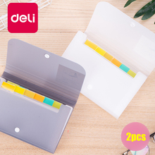 Deli 2pcs Mini Organ Bag Compact A6 Document File Folder Multi-function Ticket Office Stationery Index Button Snap Clip bag