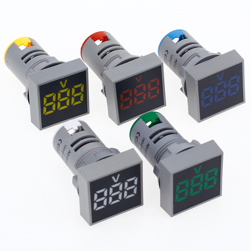22MM AC 12-500V Voltmeter Square Panel LED Digital Voltage Meter Indicator Light