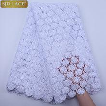 SJD LACE-tela de encaje africano blanco puro, alta calidad, agujeros para ojales, cordón de guipur, encaje Soluble en agua para boda, SewA1830