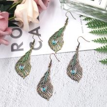 Antique Bronze/Copper Peacock Tail Feather Drop Dangle Earring Bohemian Women Jewelry