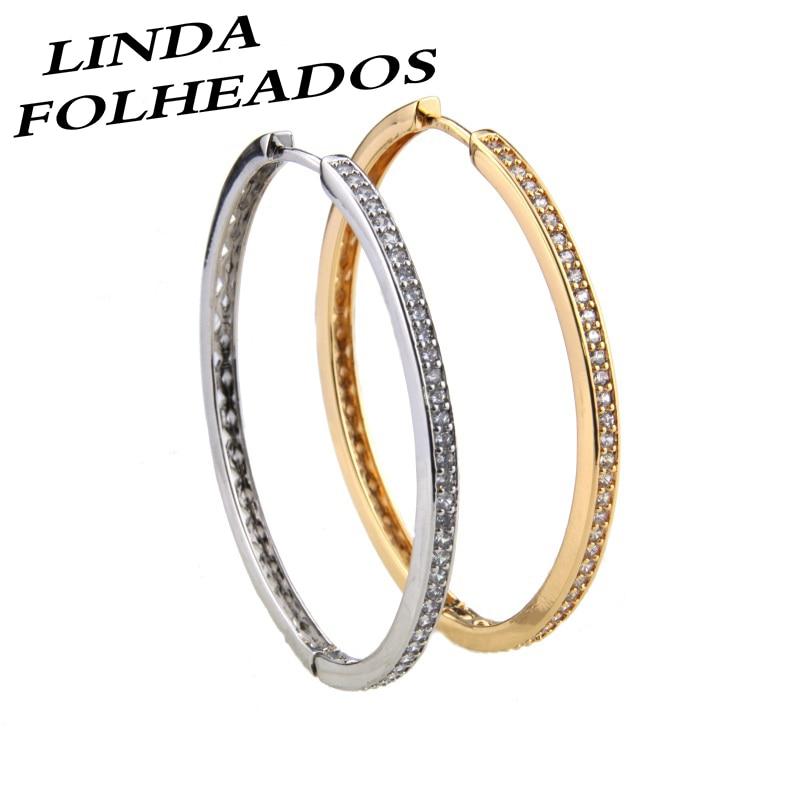 Neue Gold/Silber farbe Kupfer Ohrringe Weiß Zirkonia Runde Ohr Hoops Frauen Mode Partei Übertrieben Schmuck Ohrring