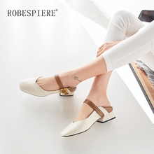 ROBESPIERE Mary Janes Shoes For Women Natural Leather Mid Heel Ladies Casual Pumps Autumn New Buckle Strap Plus Size Shoes A107 цена в Москве и Питере