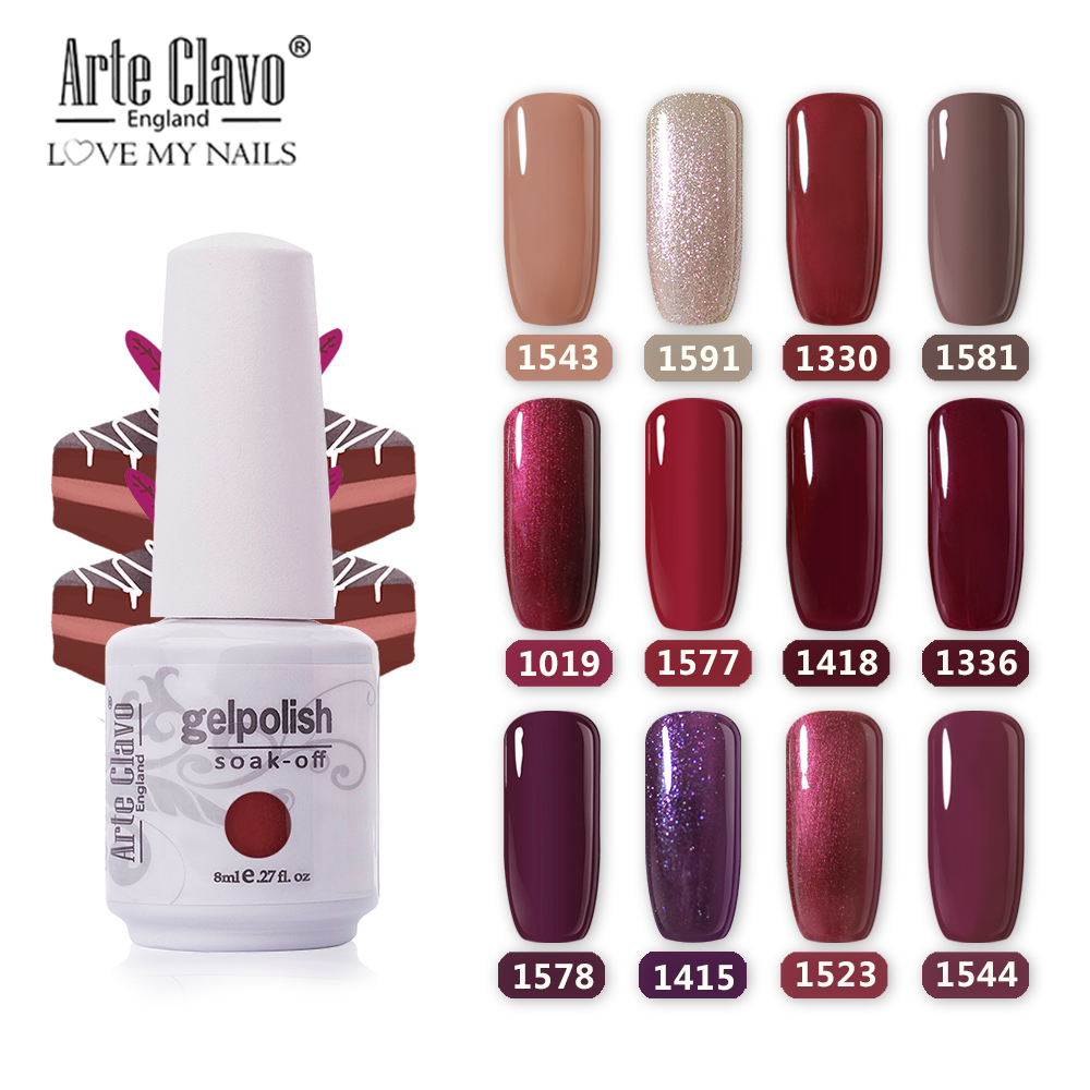 Arte Clavo 8ml UV Gel Varnis Color Esmalte de uñas DIY uñas Arte laca LED Gel Esmalte brillo remojo gellak Semi permanente