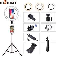 Mamen 6/8/10 polegada selfie anel luz fotografia iluminação led câmera foto para youtube streaming ao vivo telefone com tripé usb plug