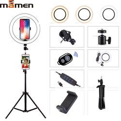 Mamen 6/8/10 Inch Selfie Ring Licht Fotografie Verlichting Led Camera Foto Voor Youtube Live Streaming Telefoon Met Statief usb Plug