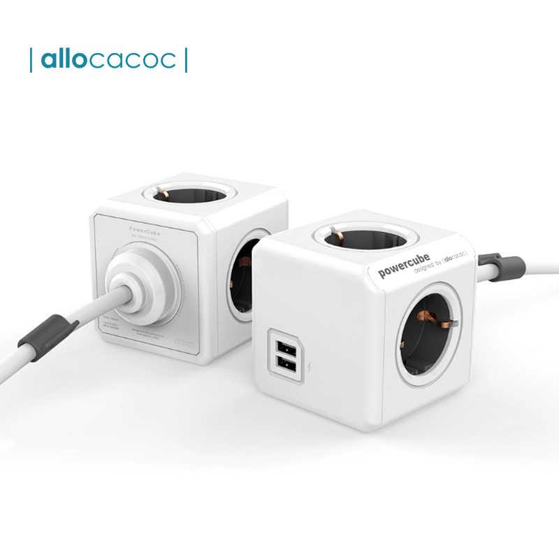 Allocacoc Powercube ue wtyczka zasilania taśmy 4 wtyczka ac adapter podróżny 3680W wielu smart 2 ładowarka usb gniazdo 1.5m 3m dla domu