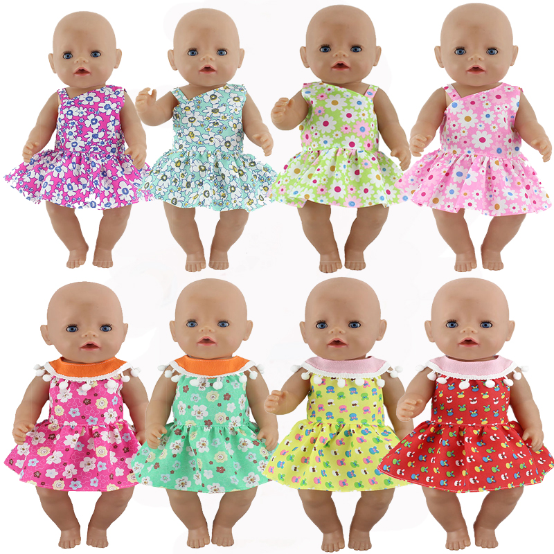 Candy Color Dress Fit For Born 43cm Doll Clothes  Doll Accessories For 17inch Baby Doll