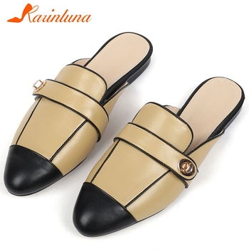 KARINLUNA Brand New Ladies 2020 Casual Soft Slippers Fashion Mixed Colors Slip On Slippers Women Genuine Leather Shoes Woman
