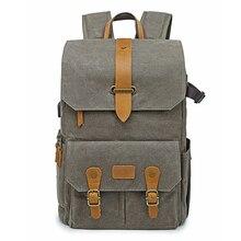 حقيبة ظهر كلاسيكية من قماش الباتيك + حقيبة صور جلدية للسفر في الهواء الطلق حقيبة ظهر واسعة مبطنة للتصوير الفوتوغرافي كاميرا DSLR لكانون/نيكون/سوني