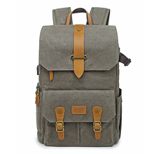 Vintage Batik Canvas+Leather Photo Bag Outdoor Travel Roomy Backpack Padded Photography DSLR Camera Case for Canon/Nikon/Sony