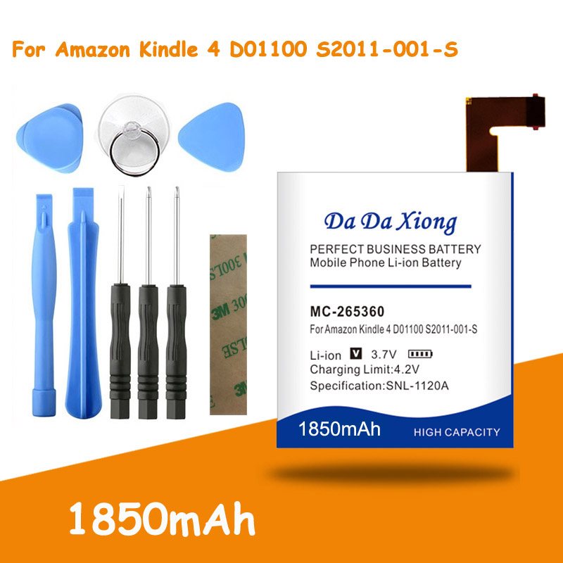 MC-265360 Battery 1850mAh for Amazon Kindle 4 <font><b>D01100</b></font> S2011-001-S DR-A015 Replacement batteria + Free Tools image