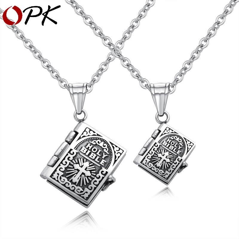 Marque bijoux rétro croix Bible hommes et femmes amoureux colliers peuvent ouvrir des pendentifs de prière pour des cadeaux de lettrage personnalisés