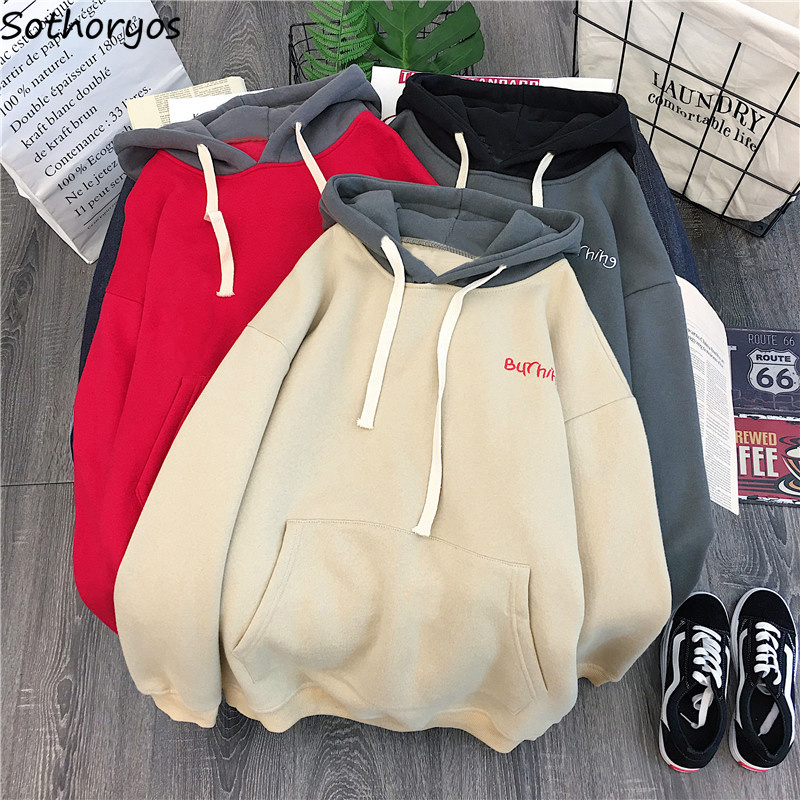 Hoodies Women Hooded 2020 Winter Thicker Plus Velvet Warm Pocket Kawaii Sweatshirts Womens All-match Korean Style Pullovers