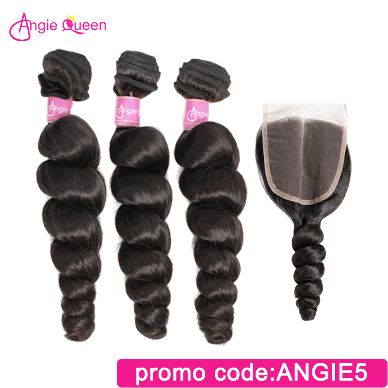 Angie Queen Loose Wave Brazilian Remy Hair Natural Color 100% Human Hair Bundles With Closure Lace Closure With 3 Bundles M