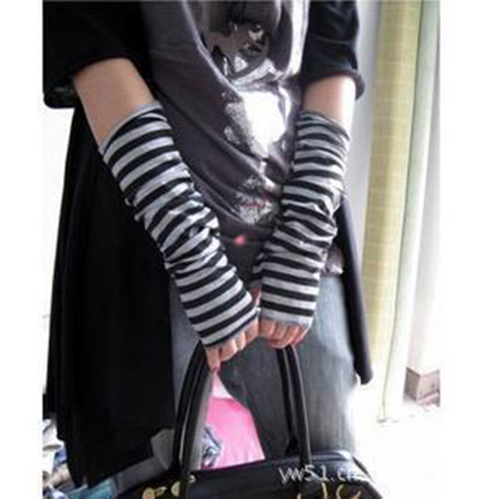 Autumn Wrist Arm Hand Arm Warmers Knitted Fingerless Gloves Long Sleeve Soft Striped Elbow Gloves Fingerless Gloves Mittens