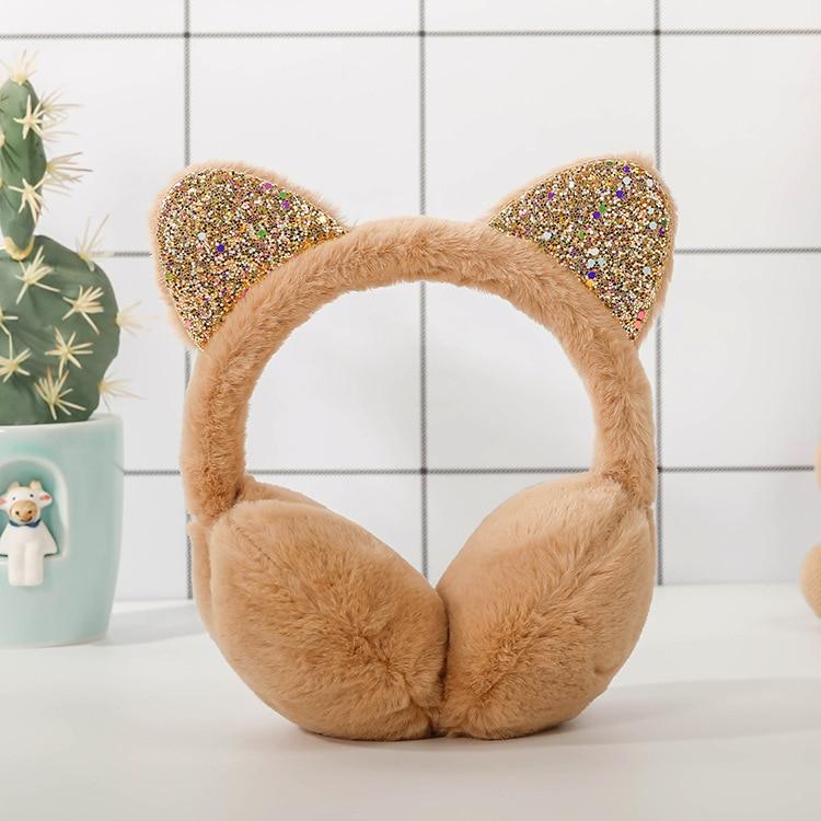 Style Fashion Winter Earmuffs For Ladies Can Be Folded Ear Muffs With Imitation Rabbit Hair Ear Warmer Fur Earmuff Solid Color